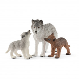 Schleich 42472 Maman loup avec louveteaux