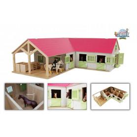 Kids Globe paardenhoekstal met 3 boxen en berging 1:24 roze