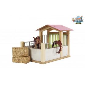 x Kids Globe houten Paardenbox roze 1:24 (voor Schleich paarden)