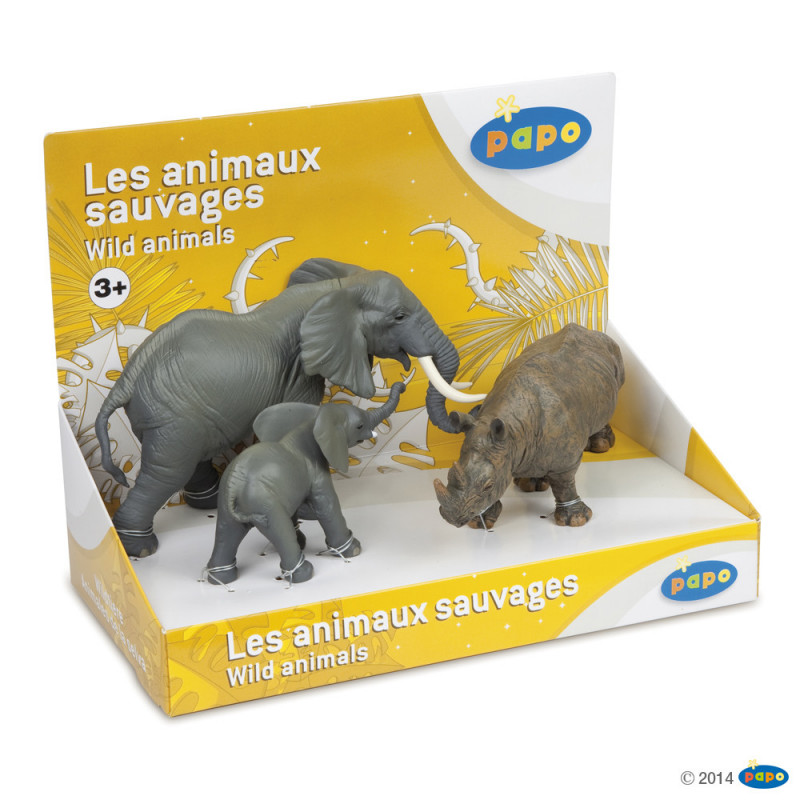 Papo 80002 Wilde dieren olifanten & neushoorn set ( 3 stuks )