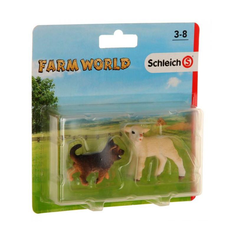 Schleich 87391 Farm Life 2 Pack 2 Lammetje en Jonge Duitse herder