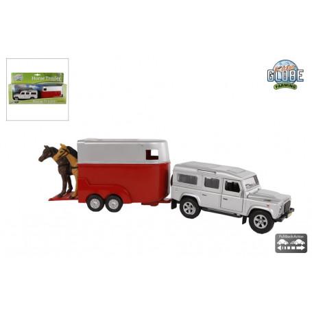 Kids Globe Land Rover met paardentrailer 26cm