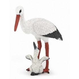 Papo 50159 Storch mit Storchenjunges