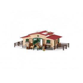 Schleich 42195 Écurie avec chevaux et accessoires pour figurines