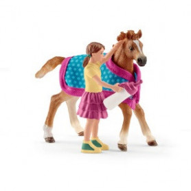 Schleich 42361 Fohlen mit Decke und Mädchen