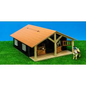 Horsestable Wood with 2 boxes and workshop 1:24