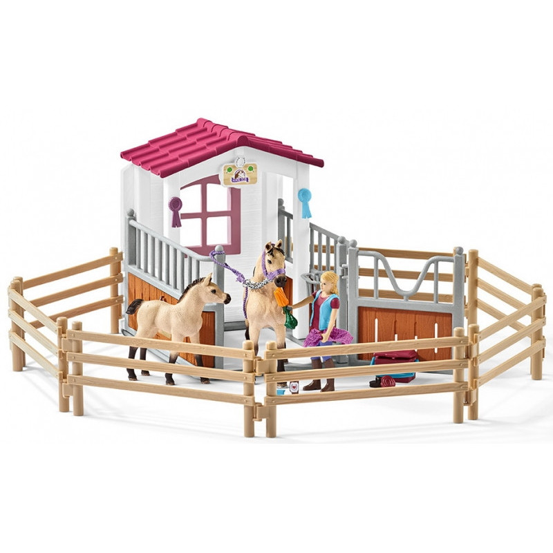 Schleich 42369 Horse Stall with Horses and Groom