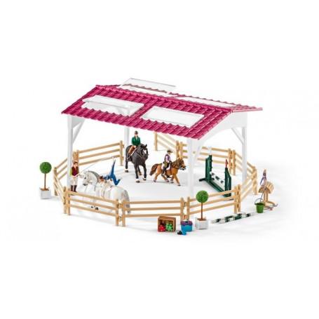 Schleich 42389 Figurine École d'équitation avec cavalière et chevaux