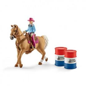 Schleich 41417 Barrel Racing met Cowgirl op Rodeozadel