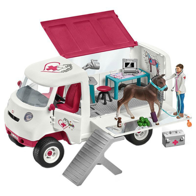 Schleich 42370 Mobile Tierärztin mit Hannoveraner Fohlen