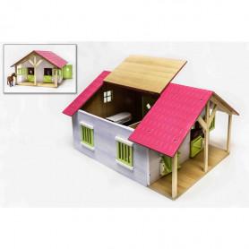 Pferdenstall Holz mit 2 Boxen und Werkstatt 1:24