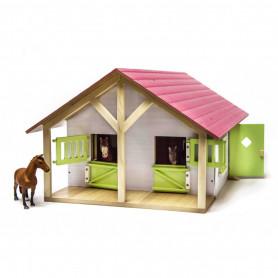 Paardenstal met 2 boxen 1:24 Kids Globe roze