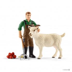 Schleich 42375 Fermier avec chèvre