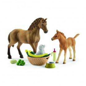Schleich 42432 Kit de soins pour bebe animaux & chevaux Quarter Horse avec chiots