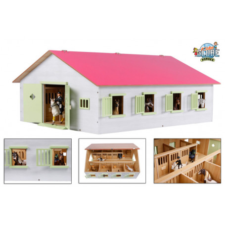 Paardenstal met 7 boxen roze 1:24 Kids Globe