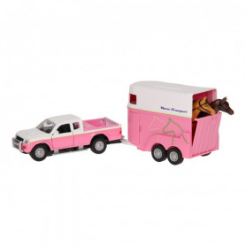 Kids Globe Mitsubishi met paardentrailer roze